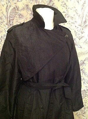 Vintage Dannimac Black Trench Coat - Size 12/14