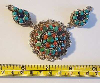 Beautiful unusual silver tone turquoise stone necklace. Metal detecting find