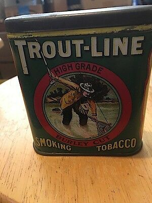 Trout-Line Smoking Tobacco Vertical Pocket Tin : Advertising Tobacco Tin