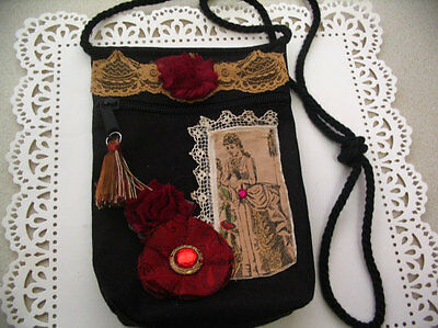 Embellished Canvas Decorated Handbag Pouch Accessory Bag #1