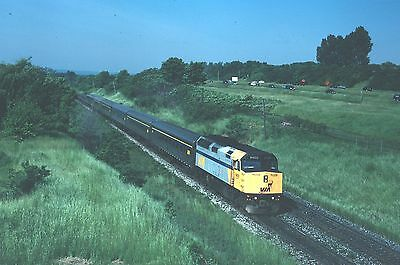 Via Rail F40PH 6400 - nice action scene stainless steel train - Kodachrome slide