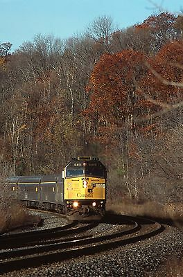 Via Rail F40PH 6411 with stainless steel cars - fall colors action view!