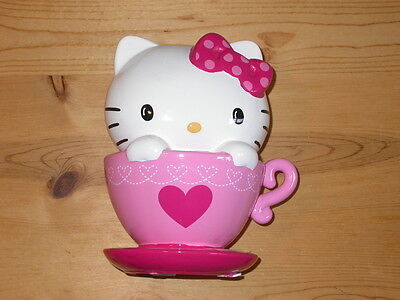 Sanrio HELLO KITTY in a teacup! ceramic bank Pink & White NEW w STICKERS
