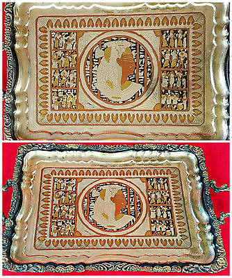 """Rare Large Vtg 17"""" x 12"""" Silver Egyptian Etched Serving Tray Inlaid Copper Gold"""
