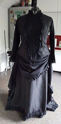 Victorian Steampunk period costume black mourning bustle skirt outfit 16/18