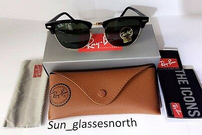 Ray-Ban RB3016 Classic Clubmaster Sunglasses Black Frame Green Lenses 51mm Large