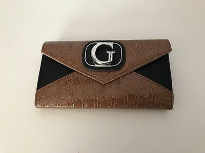 Guess Brown And Black Snake Faux Leather Wallet Checkbook Clutch
