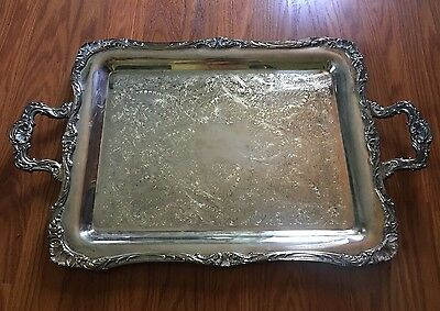 """Vintage WM ROGERS Silver HANDLED Footed SERVING Tea Set TRAY 24"""" Ornate #290"""