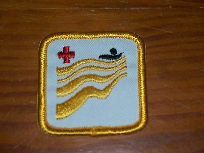 """Canadian RED CROSS Water SAFETY Level PATCH BADGE Swimming YELLOW 2"""" Vintage"""