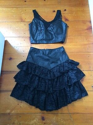 Madonna Black Medium Vintage Skirt Top Lace & Leather 80's Outfit