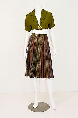 1950's Vintage Women's 2 to 4 Olive Green Shrug Crop Top & Circle Skirt Outfit