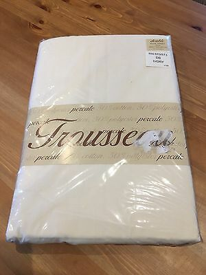 BNIP Percale Ivory Double Bed Pair Of Flat Sheets