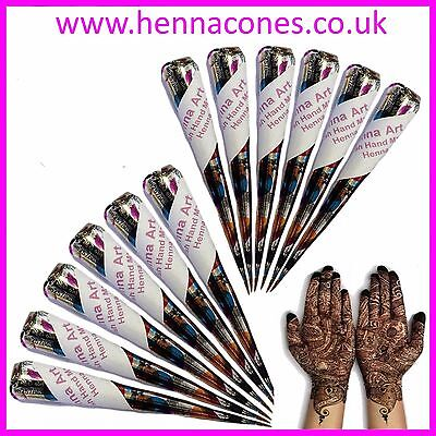 Henna Cones Fresh Quality Mehndi Hand Made Tattoo Paste Pen PACK OF FOUR