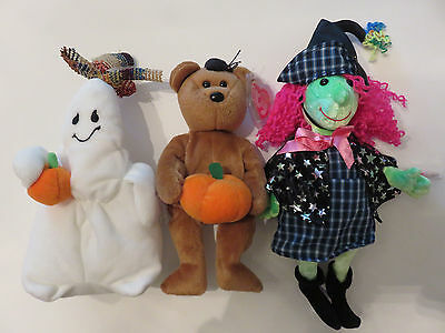 Halloween Ty Beanie Trio Ghost Ghoulianne - Witch Scary - & Bear Hocus