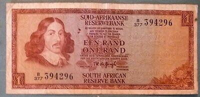 SOUTH AFRICA 1 RAND NOTE , P 116 b , 1975 ISSUE, WATERMARK : VAN RIEBEECK
