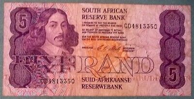 SOUTH AFRICA 5 RAND NOTE , P 119 e , 1990-94 ISSUE, SIGNAT. 7 , security thread