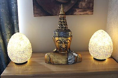 Large 52 Cm Hand Carved Wooden Thai Buddha Gold Head Bust Statue Figure Ornament
