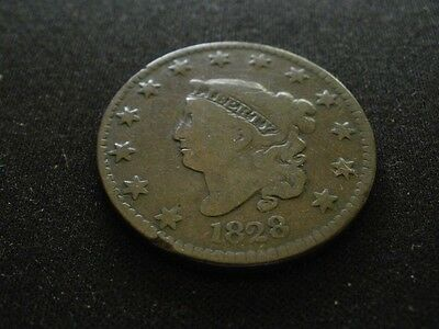 1828 Coronet Head Narrow Date  Large Cent U. S. Coin 1C