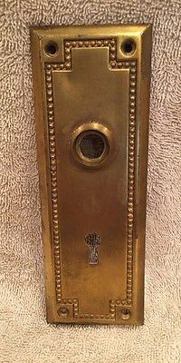 Vintage Stamped Brass Arts & Crafts Door Knob Back Plate - Escutcheon Projects