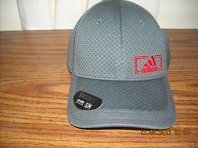 New Adidas Men's Amplifier Climalite Baseball Stretch Fit Hat Cap Grey