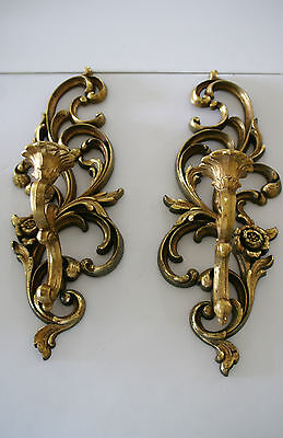 PAIR OF GOLD SYROCO WALL SCONCE / CANDLE HOLDER #4531 Homco HOLLYWOOD REGENCY EC