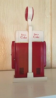 Retro Coca-Cola Have A Coke Gas Pump Shaped Salt & Pepper Shakers With Holder