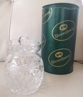 """New Boxed Tyrone Crystal """"ards Jar"""". VGC Unwanted Gift. Vintage"""