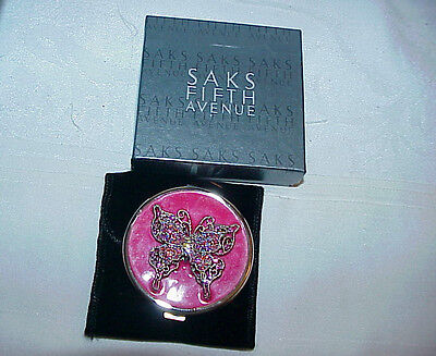 Saks Fifth Avenue Vintage Double Mirror Compact  Sparkling AB BUTTERFLIES Boxed