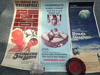 Three Vintage MOVIE POSTERS Ryans Daughter--Hammersmith---Five Fingers of Death