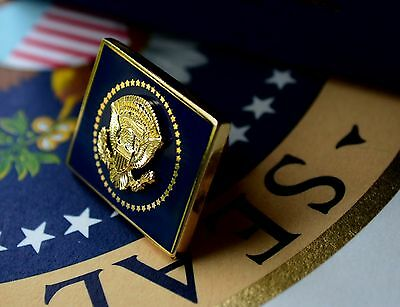 Authentic Obama Vip Square Gold White House Presidential Seal Lapel Pin~Mib