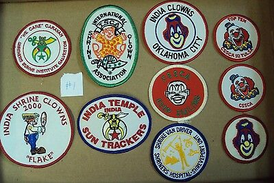 Lot/10 Vtg SHRINERS Embroidered Patch ~ Clown HOSPITAL ISCA India Temple CSSCA