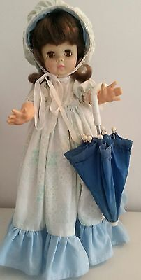 Gorgeous vintage doll floral dress petticoat bonnet umbrella panties shoes