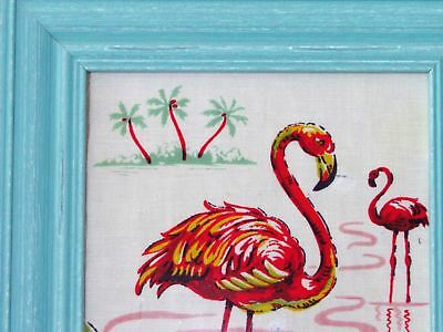 Sea Parched Framed 30's Pink Flamingo Duo VTG Barkcloth Era Upcycled Tablecloth