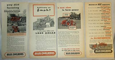 Lot of 4 Ads - Allis Chalmers - 1950 to 1952 Tractor Farm Implements Harvester