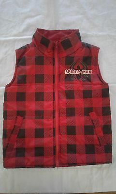 Marvel Spiderman Kids Vest Size 7 red and black checkered plaid 100%polyester
