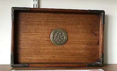 VINTAGE Wooden Tray with Brass Corners / Centre Piece CHU FOO TAI SHANGHAI