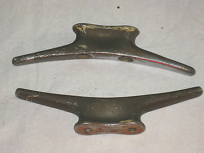 Lot Of 2 Bronze Vintage PERKO Boat Cleats Chocks Tie-Downs CHROME/BRONZE