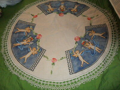 "Antique Large 35"" Arts /crafts Mission Embroidered Doily Needlework-'cherubs'"
