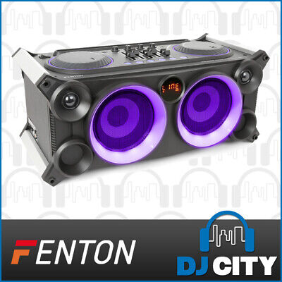 Fenton VDJ800 Battery Powered DJ Party Station Karaoke Speaker w/ BT & Mic Input