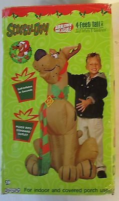 Scooby-Doo With Reindeer Antlers & Scarf Airblown Inflatable 4 Foot By Gemmy