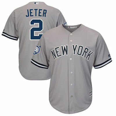 Mens New York Yankees #2 Derek Jeter Gray Road Retirement Patch Cool Base Jersey