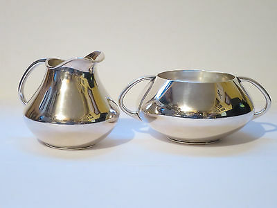 Rare Vintage Paul Bang Danish Sterling Creamer & Sugar Bowl Elegant Curvaceous