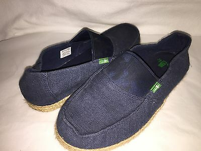 Sanuk Men's Commodore Size 8 Blue Stretch Slip-On Casual Loafer Shoes