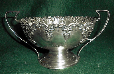 Antique 1906 English Sterling Silver Repousse Open Sugar ~ 117 grams
