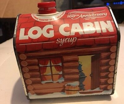 Vintage Log Cabin Syrup Tin Can 100th Anniversary 1887-1987