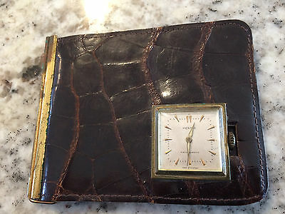 Vintage Alligator leather wallet with Rensie (Germany) mecanical watch working