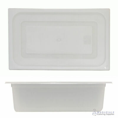 12x Food Pan with Clear Lid 1/1 GN 200mm Full Size Polypropylene Gastronorm