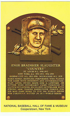 Baseball Hall of Fame Postcard Enos Country Slaughter St. Louis Cardinals HOF 85