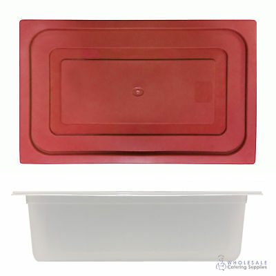 6x Food Pan with Red Lid 1/1 GN 200mm Full Size Polypropylene Gastronorm