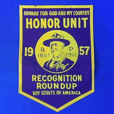 Boy Scout 1957 Honor Unit Pennant Onward For God And My Country Baden-Powell